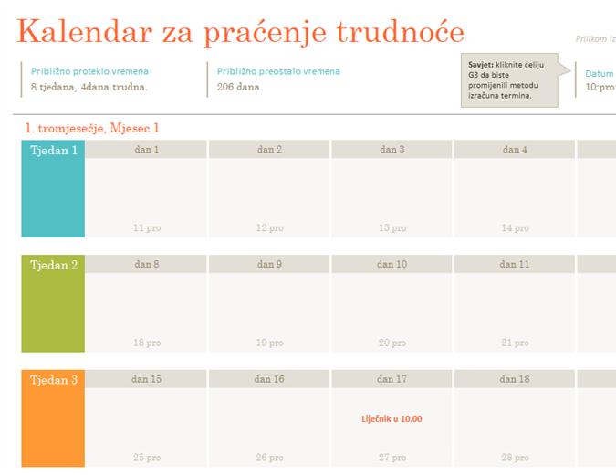 Kalendar za praćenje trudnoće