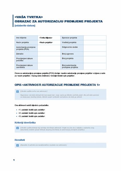 Obrazac za autorizaciju promjene projekta