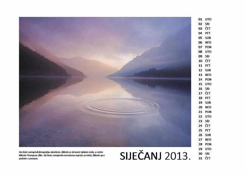 Dvanaestomjesečni kalendar s fotografijama za 2013