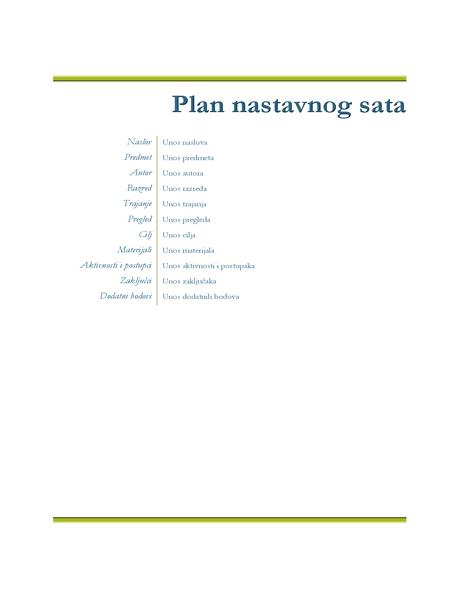 Učiteljski plan satova