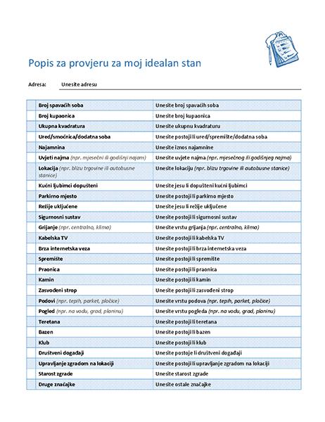 Popis za provjeru za odabir idealnog stana