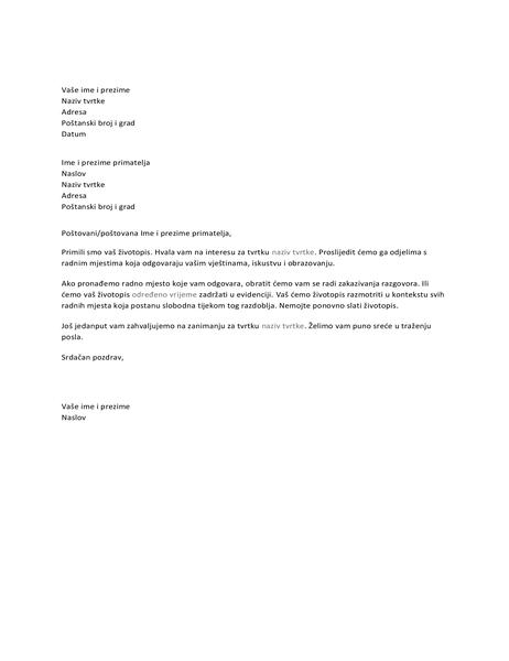 Pismo s potvrdom primitka za kandidata za radno mjesto
