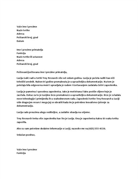Pismo preporuke za zaposlenika rukovoditelja
