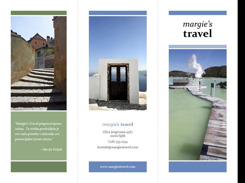 Turistička brošura s tri preklopa (dizajn s plavom i zelenom bojom)