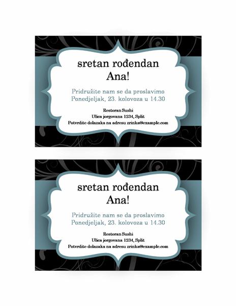 Pozivnica za zabavu (dizajn s plavom vrpcom)