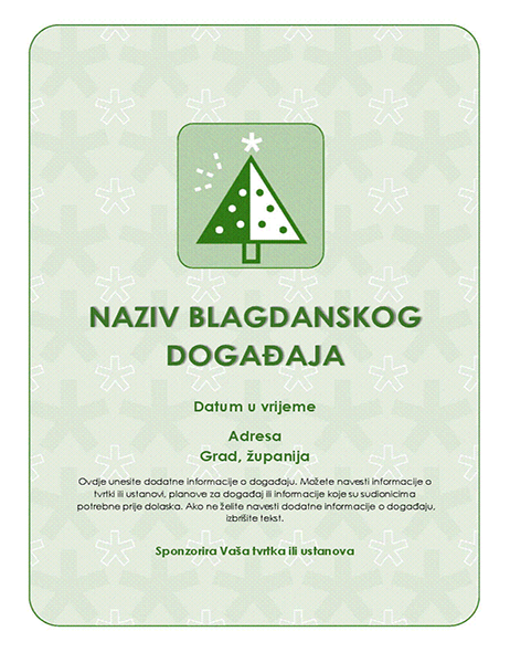 Letak za blagdanski događaj (sa zelenim drvcem)