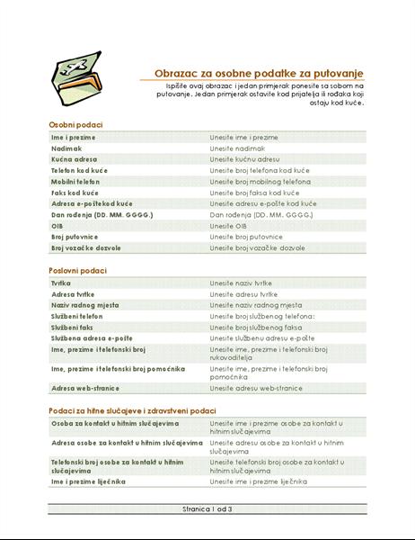 Obrazac za plan putovanja i osobne podatke