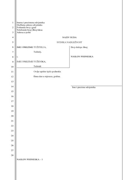 Dokument pravnog podneska (28 redaka)