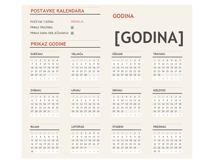 Kalendar s praznicima za svaku godinu