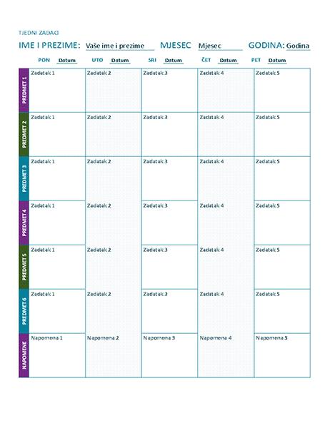 Tjedni raspored zadataka (u boji)