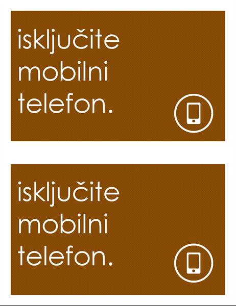 Znak o zabrani korištenja mobilnih telefona (2 po stranici)