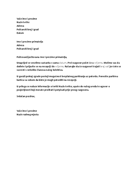 Pismo potvrde razgovora za posao s kandidatom
