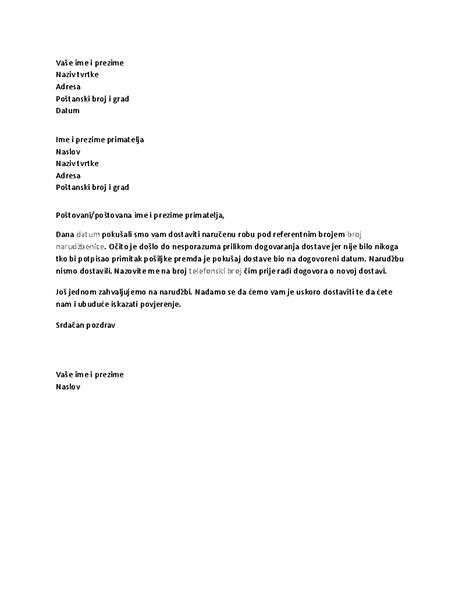 Pismo kojom se obavještava klijenta o neuspjeloj dostavi