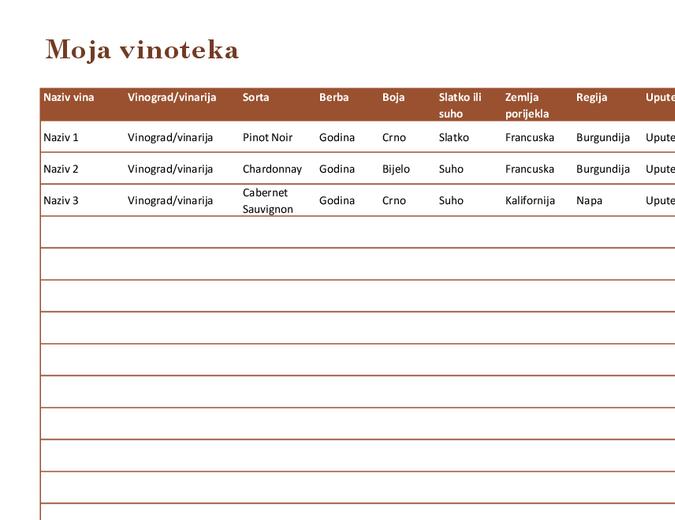 Popis vina u vinoteci