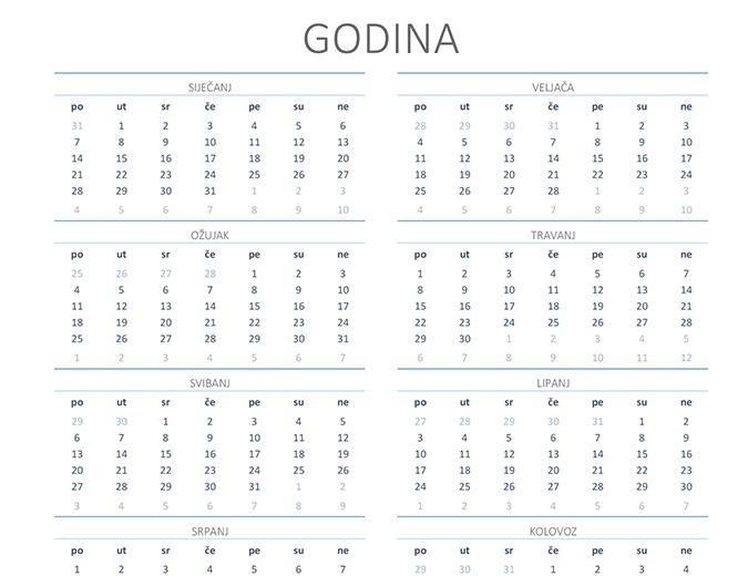 Kalendar za bilo koju godinu (pon. – ned.)