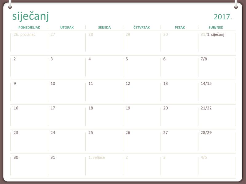 Kalendar za 2017. (pon. do ned., dizajn s dva prstena)
