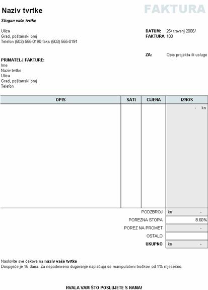 Račun za usluge s izračunom poreza