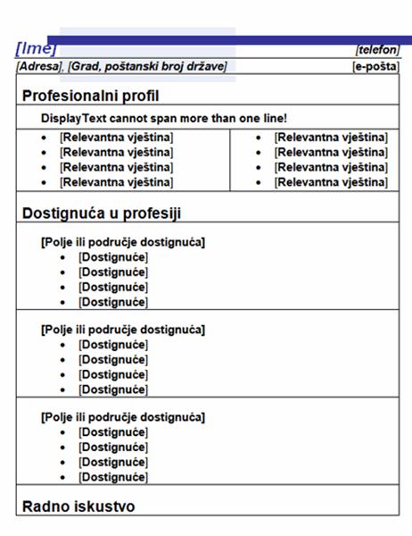 Funkcionalni životopis (dizajn s plavom crtom)