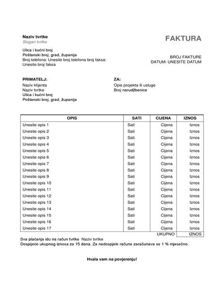 Račun za usluge s potrošenim vremenom i satnicom