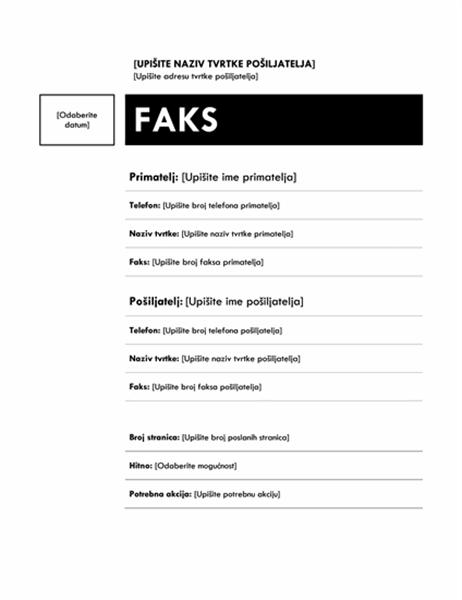 Naslovnica faksa (srednji dizajn)