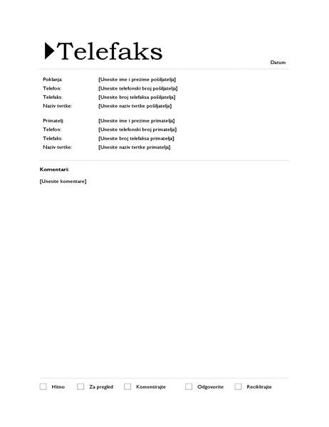 Naslovnica faksa (ishodišno dizajn)
