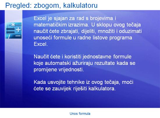 Prezentacija za obuku: Excel 2007 – unos formula