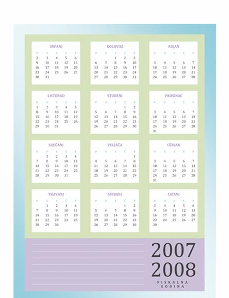 Kalendar za fiskalnu godinu 2007-2008 (pon-pet)