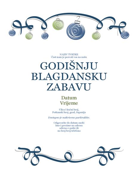 Letak za blagdansku zabavu s ukrasima i plavom vrpcom (službeni dizajn)
