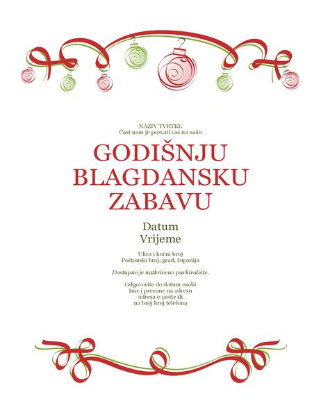 Pozivnica na proslavu praznika s crvenim i zelenim ukrasima (formalni dizajn)
