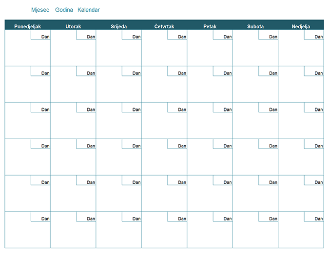 Prazan mjesečni kalendar