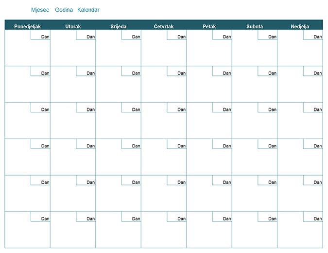 Prazni mjesečni kalendar