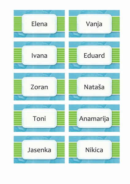 Kartice s imenima ili rasporedom sjedenja (dizajn s oblacima, 10/str.)