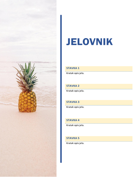 Jelovnik za zabavu (dizajn sa suncem i pijeskom)