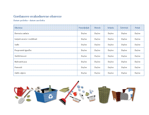 Popis za provjeru dječjih kućanskih obaveza
