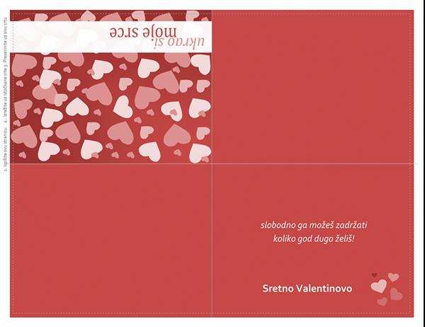 Čestitka za Valentinovo (dvostruko presavijena)