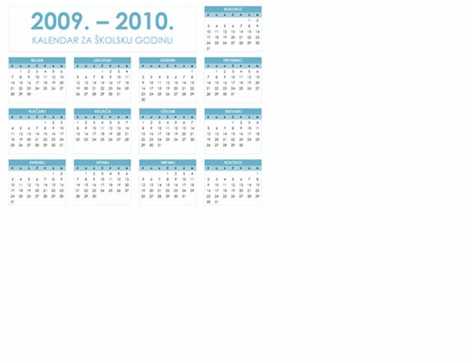 Kalendar za školsku godinu 2009/2010, 1 str, pejzaž, pon – ned
