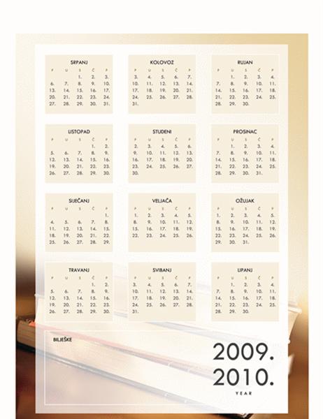 Kalendar za školsku godinu 2009. – 2010. (1 str., pon. – pet.)