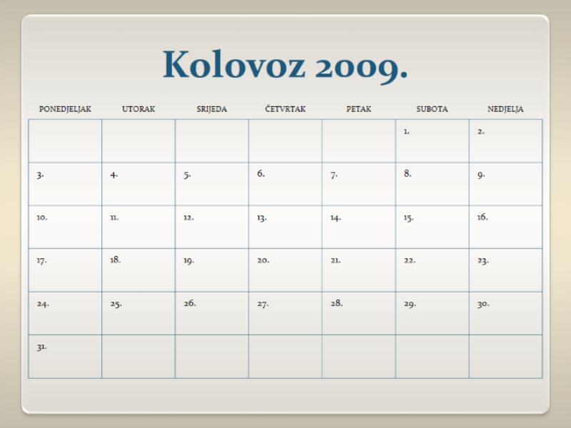 Kalendar za školsku godinu 2009 – 2010, 13 str, pon - ned