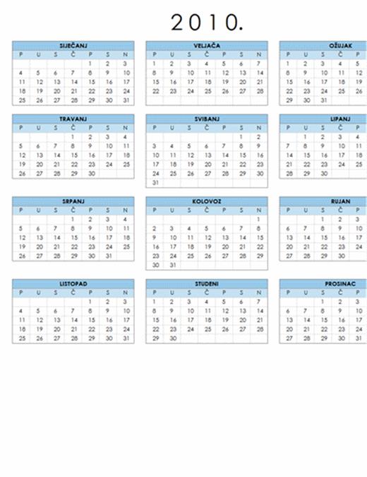 Kalendar za 2010., 1 str., pejzažni