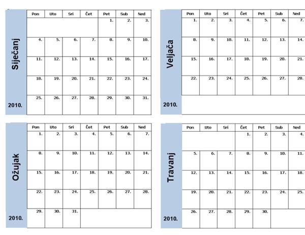 Kalendar za 2010. s plavim obrubom (3 po str.)