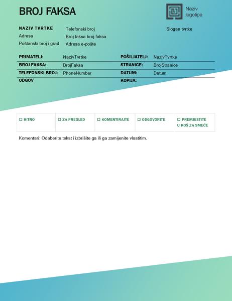 Naslovna stranica faksa (dizajn sa zelenim prijelazom)