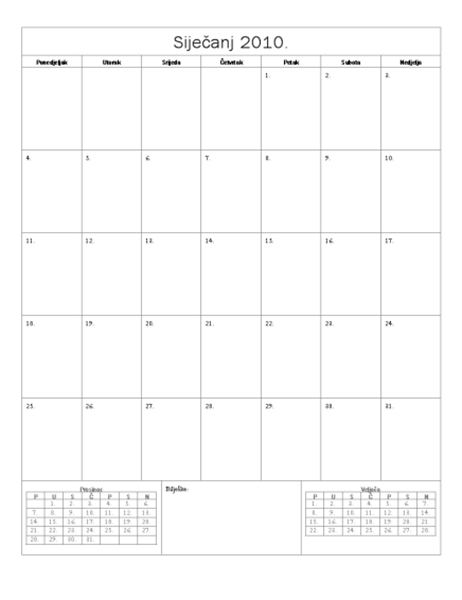 Kalendar za 2010., osnovni dizajn