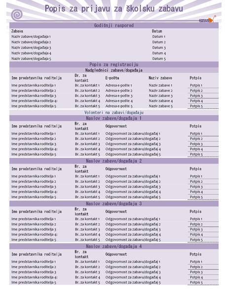 Popis za prijavu za školsku zabavu