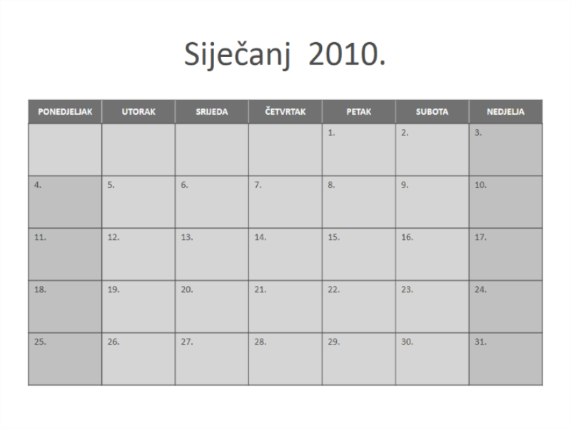 Kalendar za 2010
