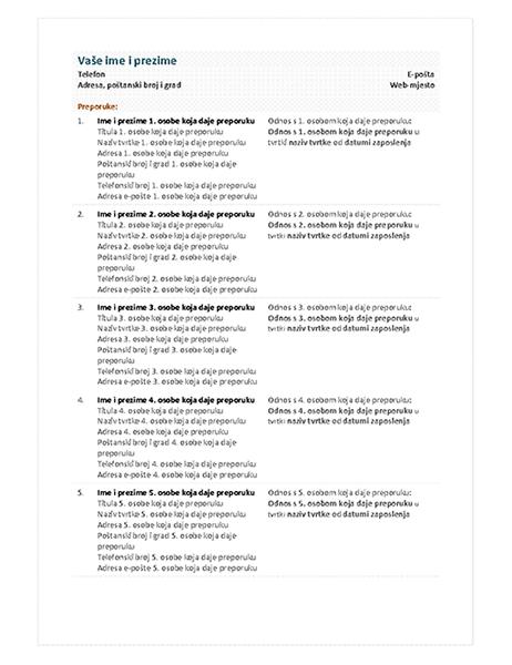 Popis preporuka za funkcionalan životopis