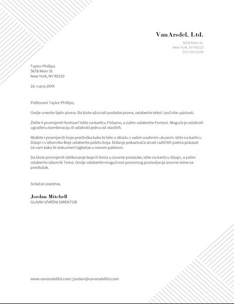 Zaglavlje dopisa s prugama
