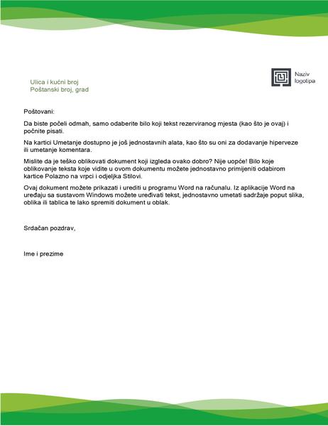 Zaglavlje pisma (dizajn sa zelenim valovima)