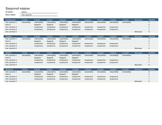 Raspored smjena zaposlenika