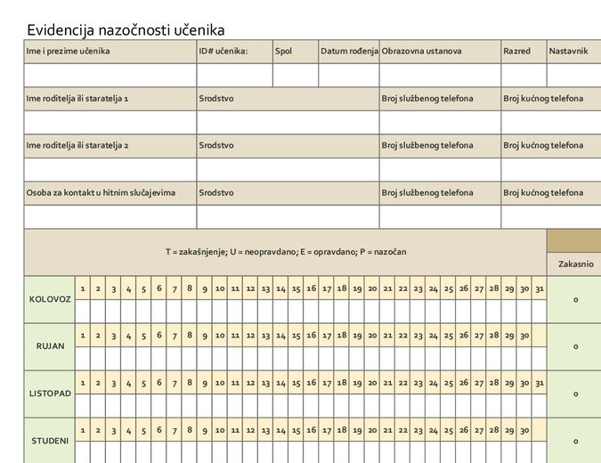 Evidencija nazočnosti učenika (jednostavna)