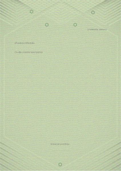 Predložak za osobna pisma (elegantni sivozeleni dizajn)